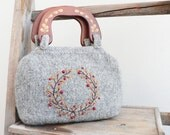 Gray Embroidered Handbag - knitted felted purse with wreath embroidery