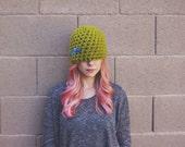 sale GREEN CROCHET HAT green beanie blue buttons flapper wool cozy soft warm winter hat