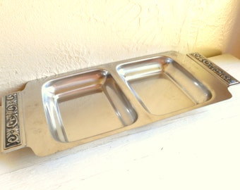 Mid-Century Modern Stainless Steel Serving Dish Tray with Decorative Handles Sleek