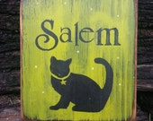 Salem, Black Cat, Cats, Halloween, Wiccan, Witch, Hand Painted Signs, Wooden Signs