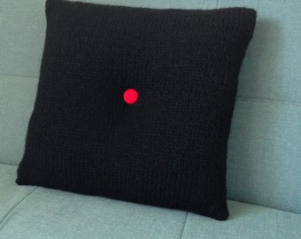 Pillow, Cushion, 60's Style, Teenagers Rooms, Hand Knitted, UK Seller, Black Pillow, Knitted Cushion, Pure Wool,