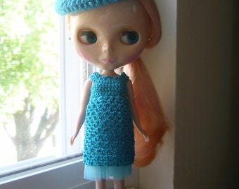 BLYTHE Dress and Hat - #4 - Hand Crocheted