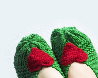 Christmas Slippers Socks - Knitting slippers - Soft slippers, Womens heart socks, house shoes, Slipper Socks, Winter Slippers,  Stocking,