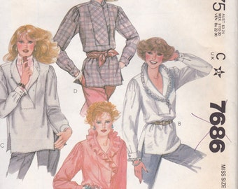 Unusual 80s Blouse Pattern McCalls 7686 Size Small 10/12