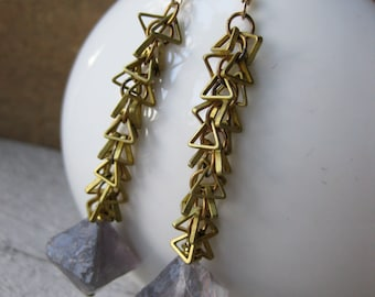 brass triangle chain and FLOURITE earrings