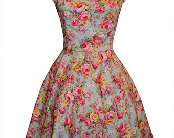 Blue floral Rockabilly dress- Pin up, 50's style