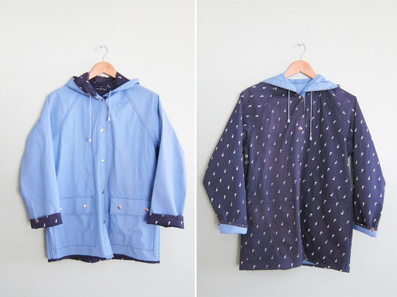 vintage rain jacket / rain slicker / reversible /1980s light