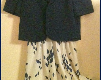 Vintage 1970's-1980's Sleeveless Dress with Jacket Navy Ivory by Items California