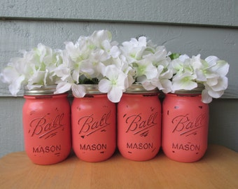 Painted and Distressed Ball Mason Jars- Coral -Set of 4-Flower Vases, Rustic Wedding, Centerpieces
