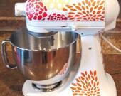 Kitchen Aid Decals-Floral, Tri Color Flower Vinyl for Appliances, Mixer Flower Stickers