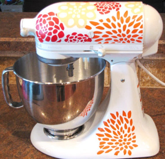 Kitchenaid Mixer Floral Decals ~ Kitchen aid decals floral tri color flower by