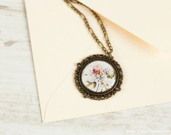 Spring floral necklace in vintage base, Nature jewelry, floral jewelry, retro jewelry, romantic jewelry, shabby chic necklace