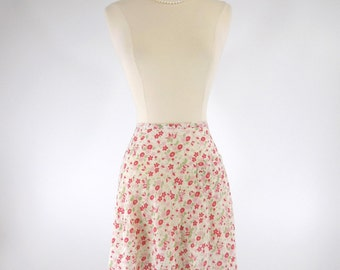 Vintage Half Apron Pink Fuchsia & Green Ditzy Floral on White