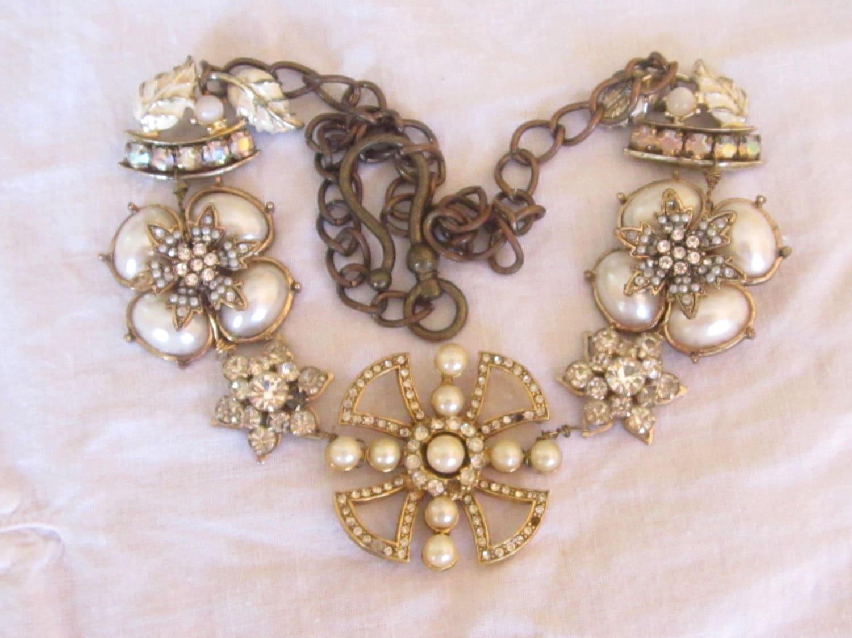 Vintage Repurposed Assemblage Handmade Jewelry Necklace