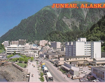 "Large ""Downtown"" Juneau, AK Topographical Picture Postcard - 214"