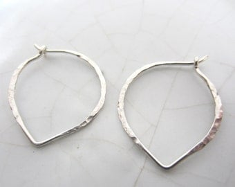 1 Pair Hammered Lotus Hoop Earrings--Plain Sterling Silver--25mm