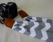 Gray + White Chevron Scarf Camera Strap