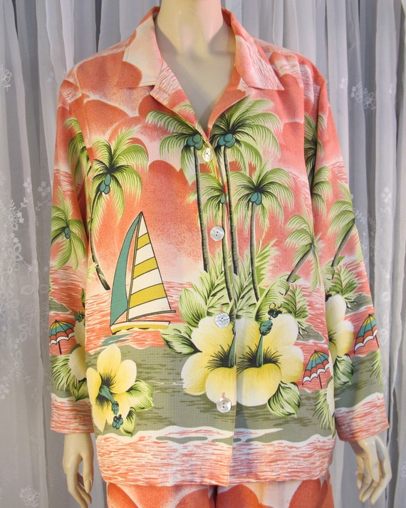Vintage 90s Women S Tommy Bahama Tropical Print Pink Silk