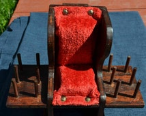 Vintage Rocking Chair Pincushion/Thread Spool and Scissors Holder, sewing storage red crushed velvet 60's 70's Kitschy Retro gift for her