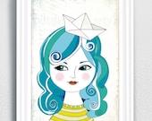 portrait, art print a4 , girl with boat, bath, blue hair, baathroom,wall art, bathroom, room decor, illustration, girls print,print