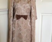 Lovely coffee satin brocade 60s dress and jacket