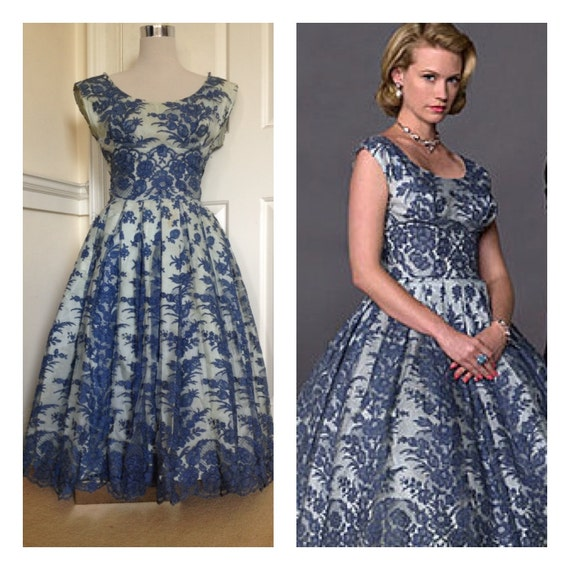 RESERVED UNTIL 14/2/14. REAL Mad Men Betty Draper blue lace 50s Frederick's dress