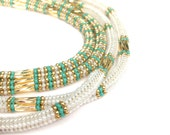 Beaded Necklace, Turquoise Gold & White Opal Embellished Ropes, Long Statement Necklace