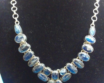 Gorgeous Blue Kyanite Silver Sterling Necklace