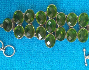 Lovely Green Quartz Silver Sterling Bracelet