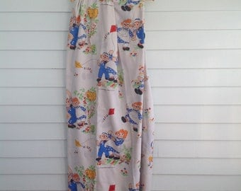Vintage Raggedy Ann Bed Sheet, Raggedy Andy Bedding, Vintage Kids Bed Sheets, Ann and Andy Double Flat Sheet