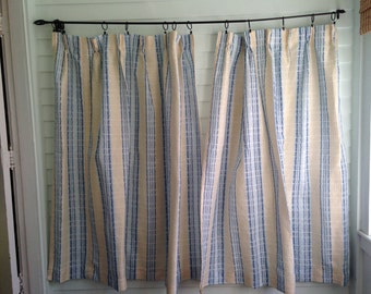Vintage Blue Striped Curtains Blue And White Vintage