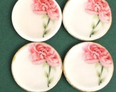 "Dollhouse Miniature Shabby Cottage Chic Porcelain Dinner Plates, ""Isabelle"", Set of 4, Scale One Inch"