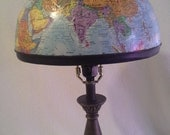 Vintage, World Globe Lampshade, Blue with Colorful Land-masses. For Living Room, Library, Child's or Student's Room,or Travel Theme