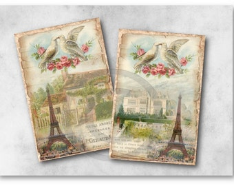 Fall in Love in Paris - Vintage Eiffel Tower Image - Digital Collage Sheet Download 948 - Instant Download Printables