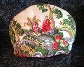 Handmade Tea Pot Cozy Asian Pagoda Scenery  Vintage Fabric Large Tea Cozie