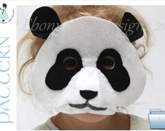 Felt Panda Mask PATTERN. Digital Sewing Pattern - Kids Panda Costume