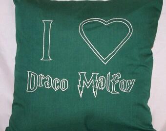 Harry Potter Inspired, I heart Draco Malfoy, Throw Pillow
