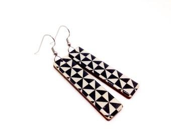 Black and White Earrings, Triangles, Washi Tape Earrings, Long Earrings, Geometric, Japanese, Laser Cut, Lightweight, Gift Under 20