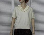 Vintage Givenchy Sport  Designer Sweater Ivory Short Sleeve