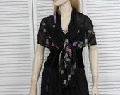 Vintage 1970s Black Floral Scarf/Shawl Long