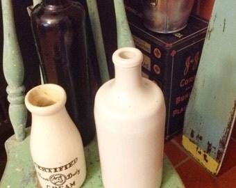 Vintage White Ironstone Bottle, Spirits, Moonshine, farmhouse, Prim Stoneware