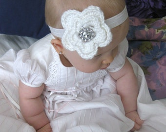 Baby Girl Headband, Flower Headband, Crystal Jewel, Crochet, Newborn, Photo Prop, Newborn Photos, Hair Accessory