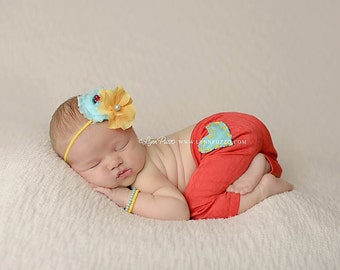 Red, Yellow and Aqua headband, summer flower headbands, red headbands, aqua headbands, newborn headbands, photography prop
