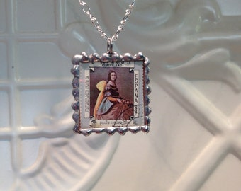Clearance sale - Art Stamp Pendant - Two- sided hand soldered - Christmas Gift