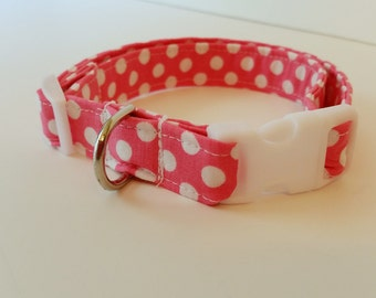 Pink and White Polka Dot Adjustable Dog Collar For Girls - Made to order