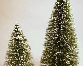 Flocked Bottle Brush Trees Set of Two 10 Inch Trees