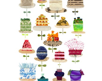 large cake print, cake print variations, mixed media cake print