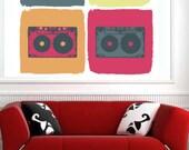 Artisic Cassette Tapes Color Music - Full Color Wall Decal Vinyl Decor Art Sticker Removable Mural Modern B187