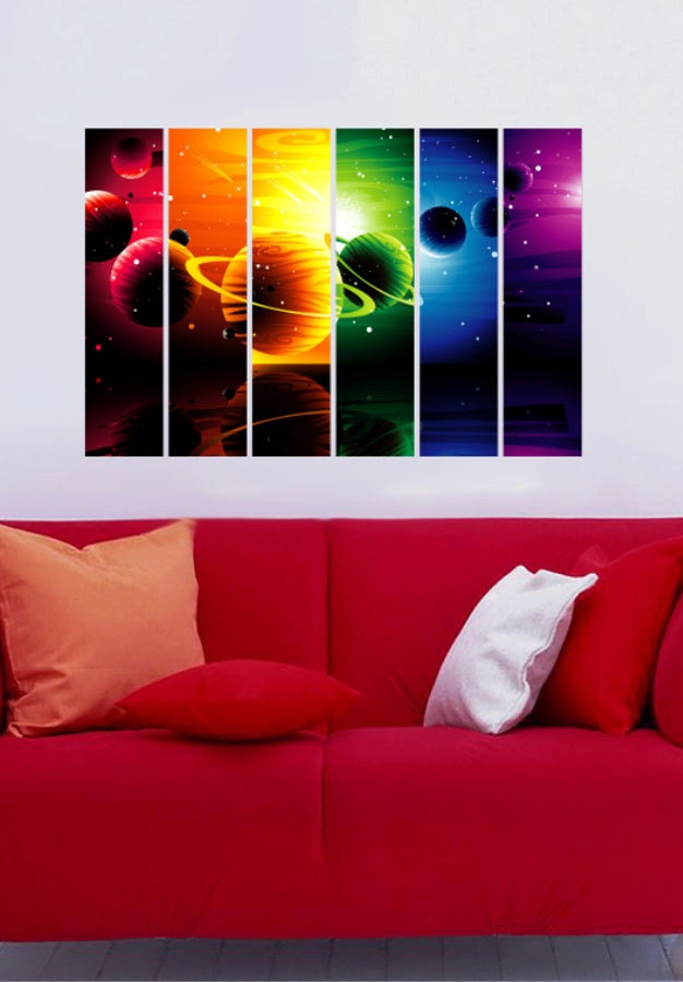 Outer space planets vinyl wall decal full color sticker for Outer space vinyl wall decals