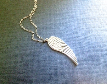Silver Angel Wing Necklace. Simple Layering Necklace. Fairy Wing. Long Necklace. Silver Chain. Gift. Under 10. Bird. Feather.